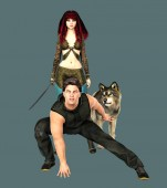 Photo Rendering Fantasy Couple with Wolf