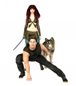 Photo 3D Illustration of a fantasy couple with a wolf ready to fight. Rendered in a softer style suitable for book cover design, these characters are particularly suited to fantasy, Gamelit, superhero, sci-fi, and LitRPG style and a number of other genres.
