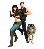 Photo Superhero Couple and Wolf