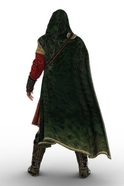 3D digital rear view rendering of a cloaked fantasy medieval ranger or nobleman. Particularly suited to book cover art and design in the historical and highlander romance, fantasy, elven genres.