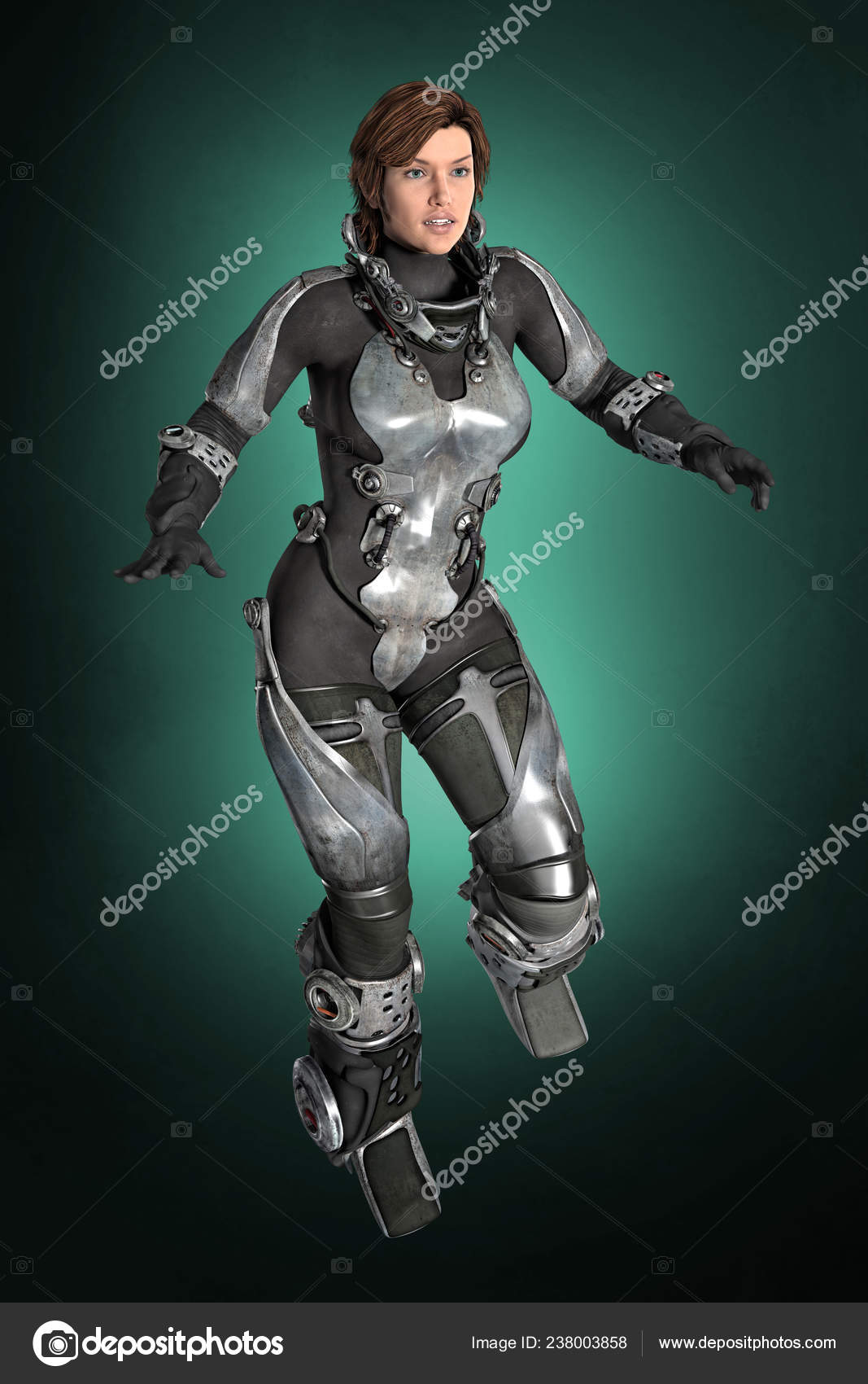 Rendering Woman Tech Futuristic Spacesuit Her Space Helmet Ideal Spaceship Stock Photo C Merrydesigns 238003858