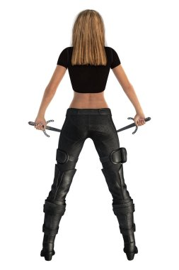 3D digital rear view rendering of an urban fantasy style woman. Particularly suited to book cover art and design in the urban fantasy, sci-fi, paranormal, gamelit, litrpg, and thriller genres. Isolated on a white background.