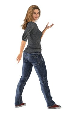 Rear View of Woman in Urban Fantasy Pose Isolated