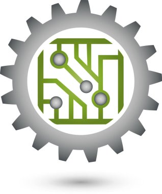 Chip and Gear, Circuit Board, Green IT, IT Services, Logo