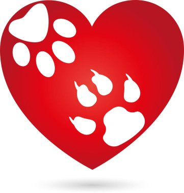 Heart, dog paw, cat paw, paw, cats, dogs, logo stock vector
