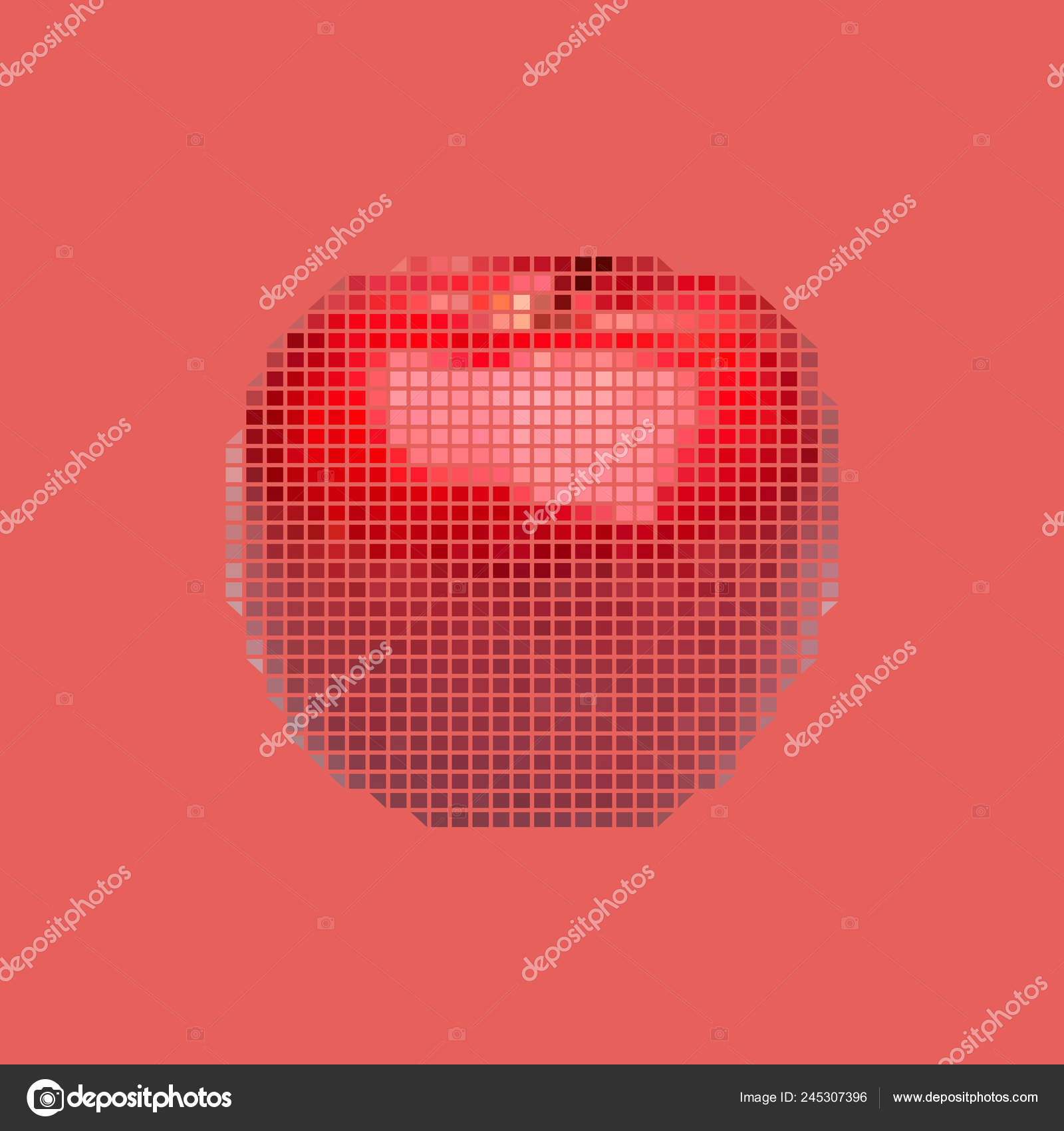 Vector Red Apple Low Poly Triangular Style Pixel Art Stock