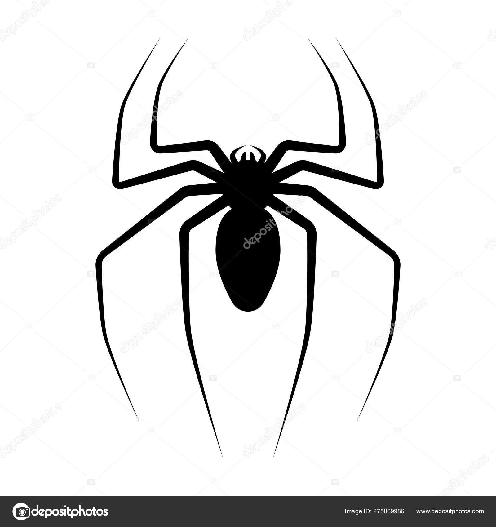 Black Silhouette Spider Spider Icon Isolated Spider Logo