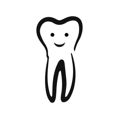 Doodle tooth icon isolated on white. Kids hand drawing art line. Sketch vector stock illustration. EPS 10