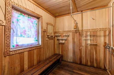 Russia, Moscow- April 15, 2020: interior room apartment modern bright cozy atmosphere. wooden bath, sauna steam room