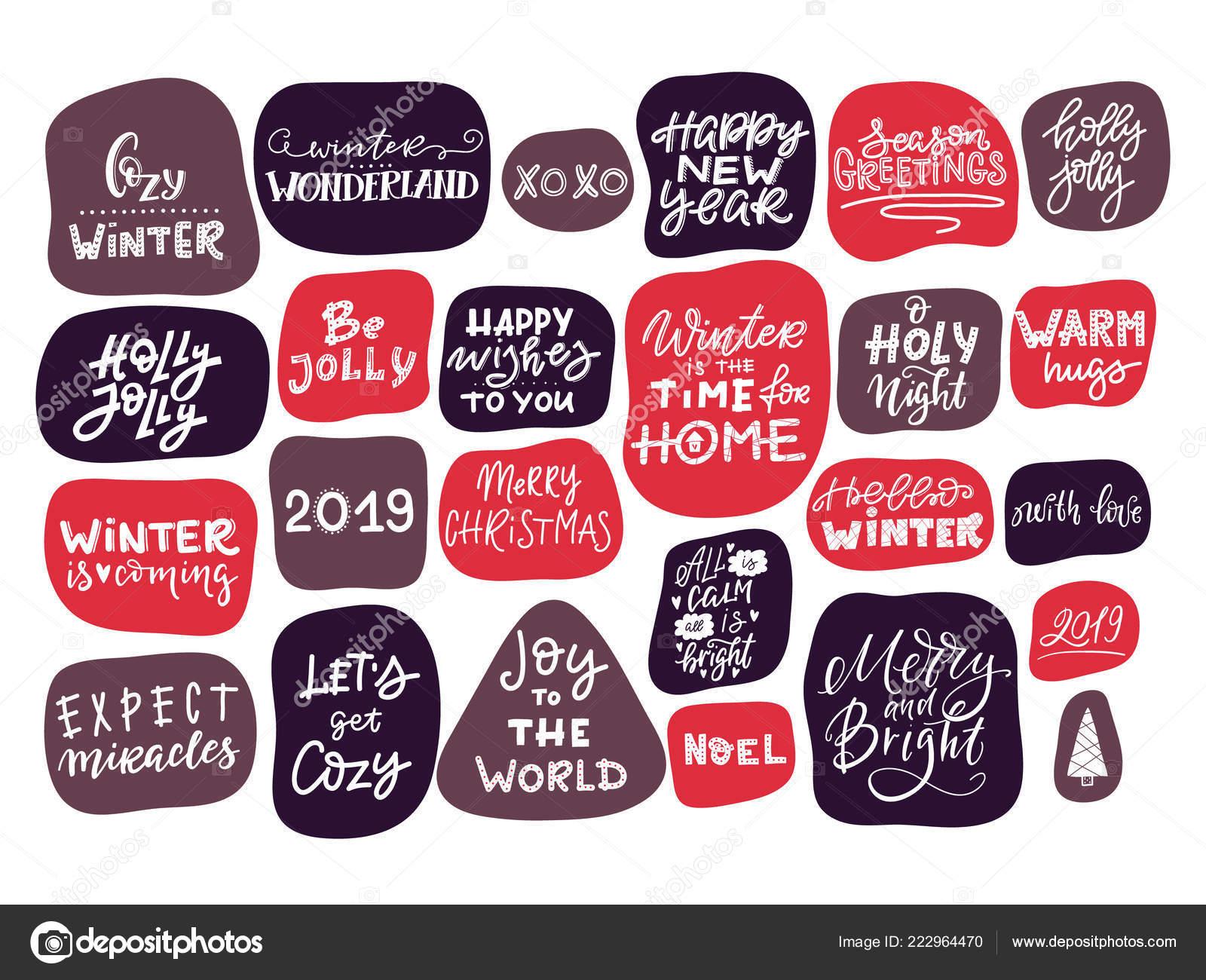 Frases Y Citas Para Navidad.Letra Invierno Vector Frase Dibujada Mano Citas Feliz