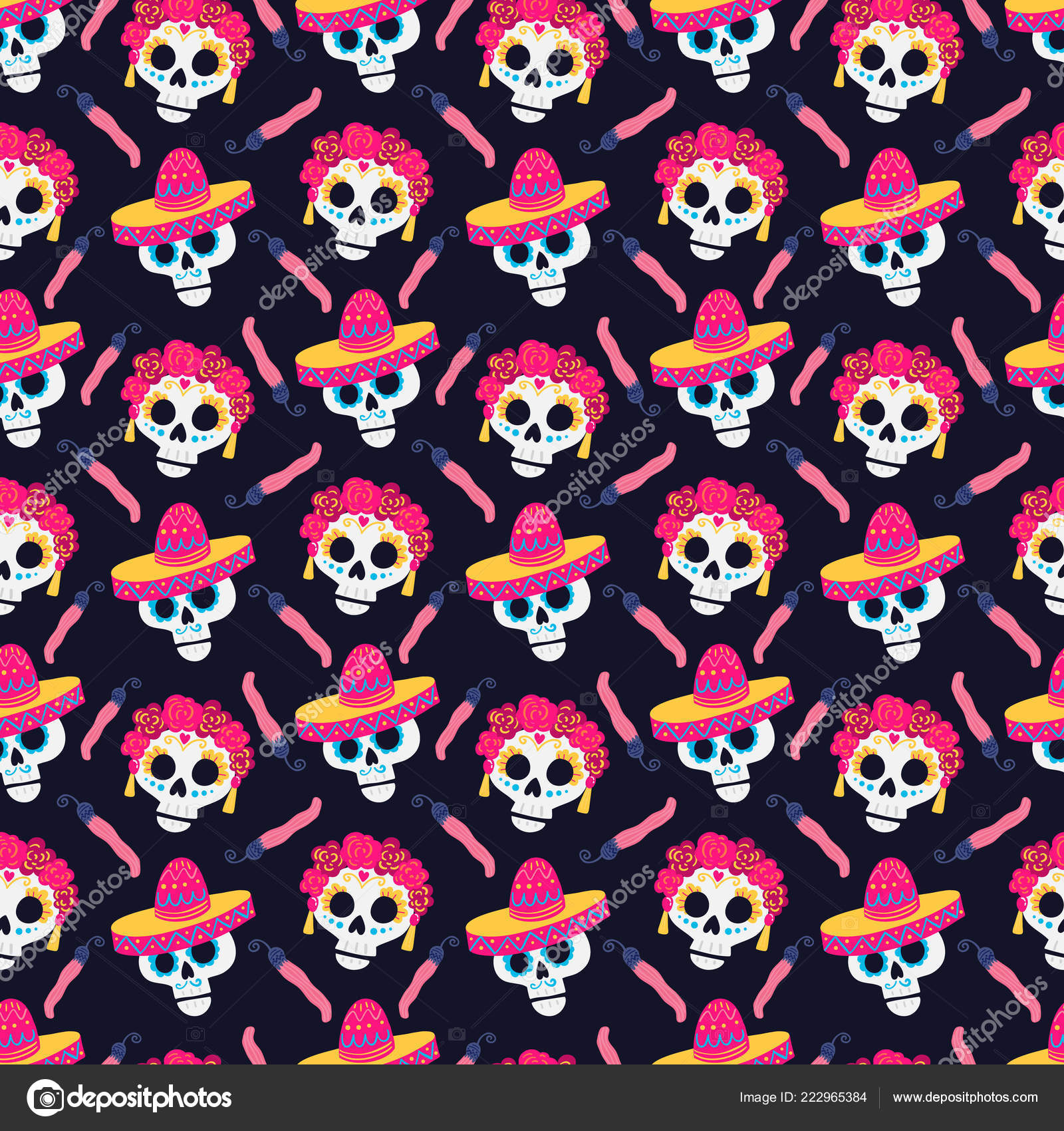 Vector Day Dead Dia Los Muertos Pattern Pappers Sculls Dark