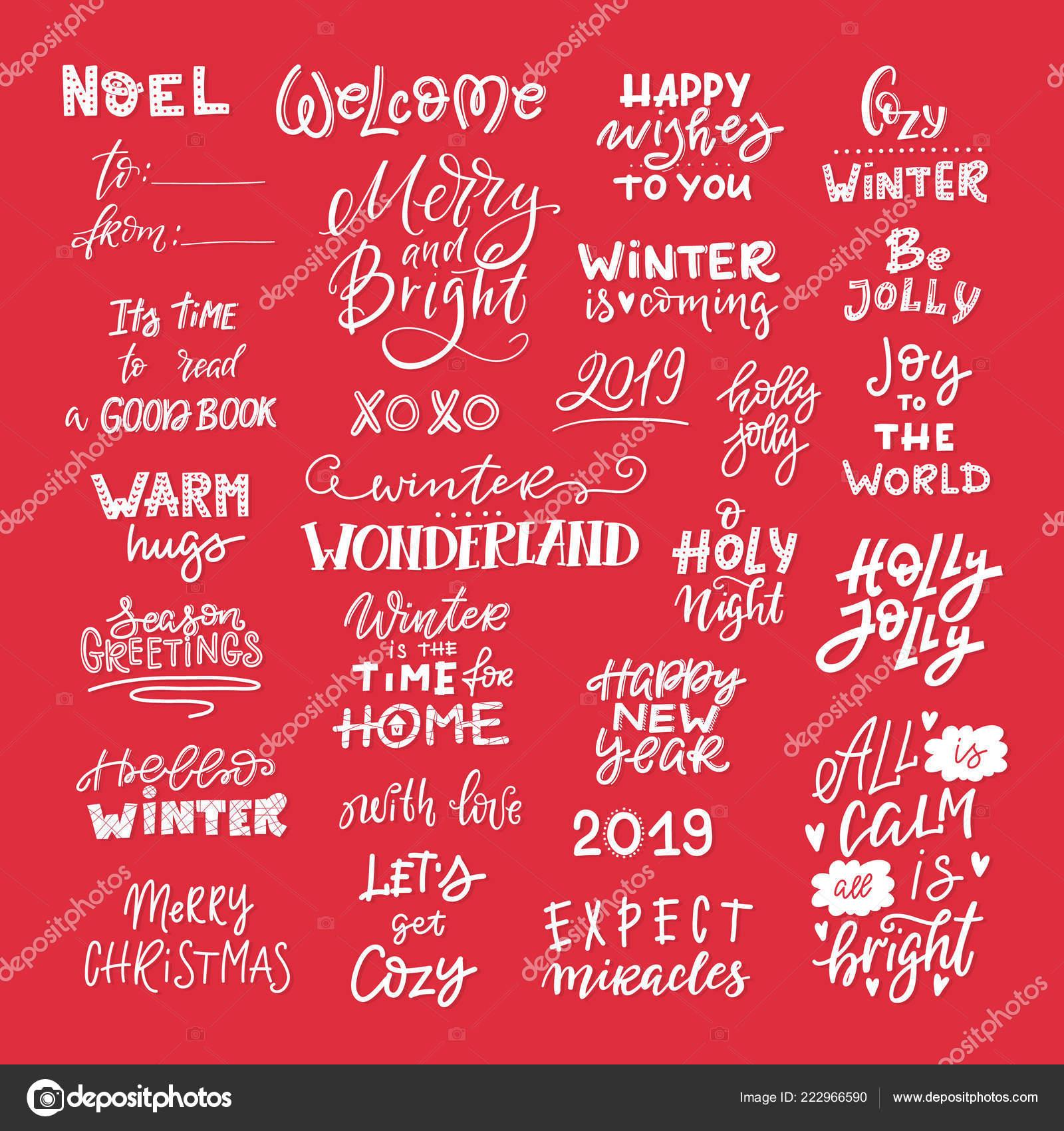 Letras Inverno Vetor Mão Desenhada Frase Citações Feliz