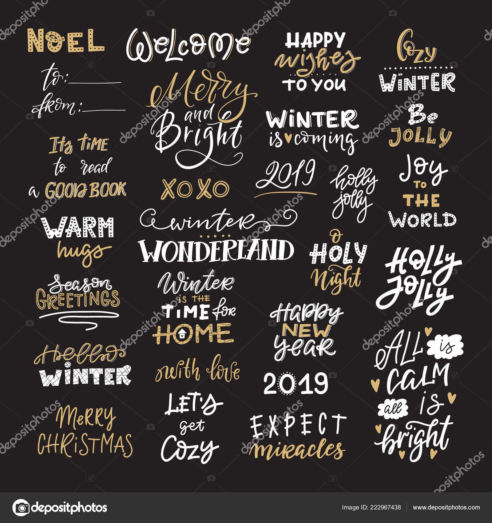Zitate Weihnachten.Vektor Winter Schriftzug Hand Gezeichnet Phrase Und Zitate Frohe