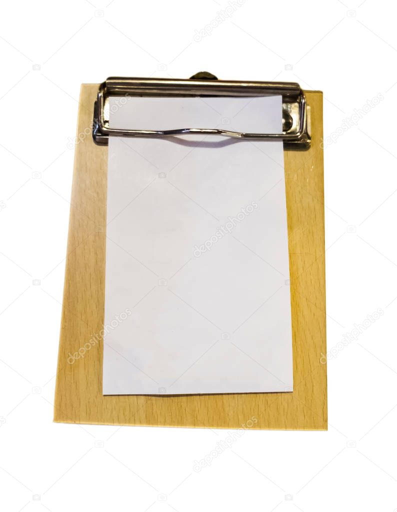 Bill money wood tray white paper blank,isolated on background