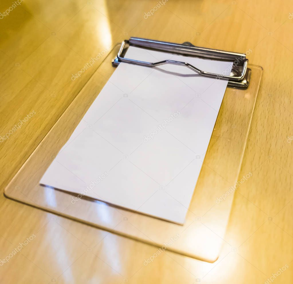 Bill money wood tray white paper blank on table