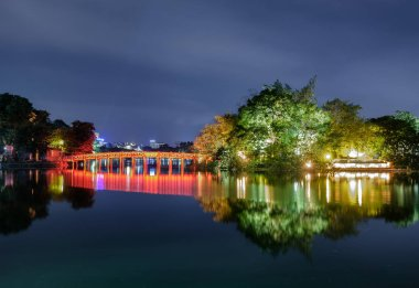 Landmark of red bridge Ho Hoan Kiem, lake of the returned sword at night, Hanoi, Vietnam