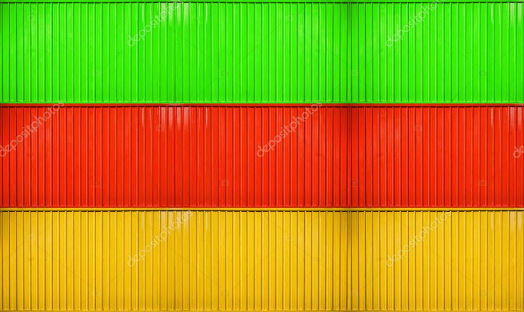 Yellow,red,green box stack of container striped surface texture