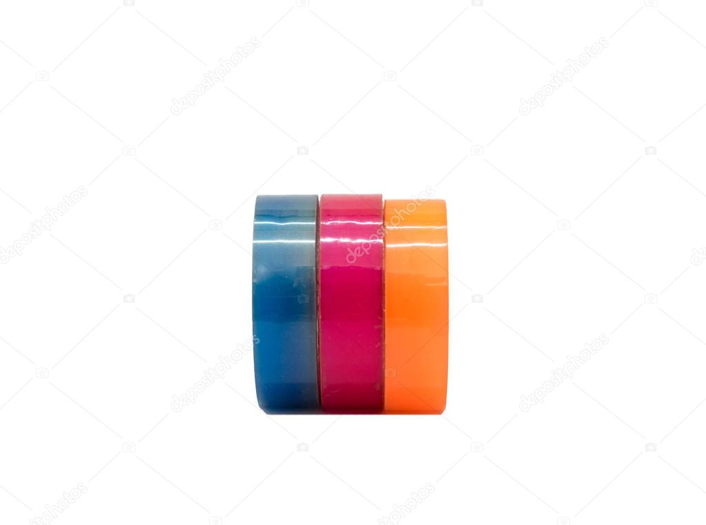 Scotch tape adhesive group colorful blue pink orange