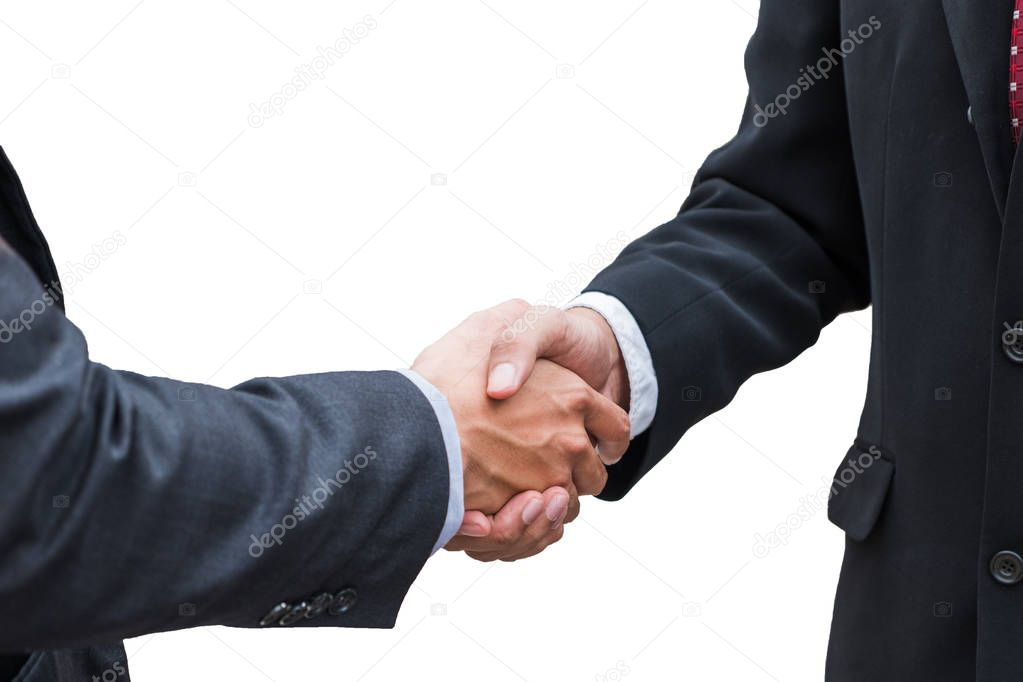 Handshake agreement of businessman with partnership on backgroun