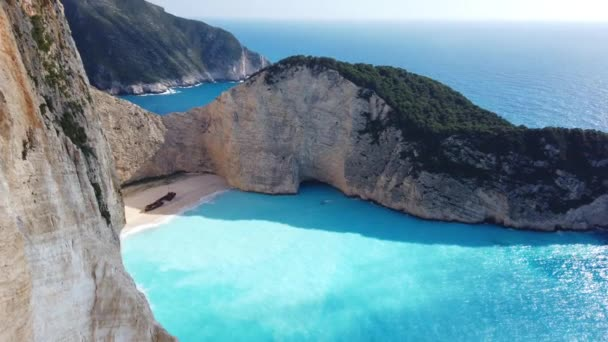 Stunning view of the cliffs in Shipwreck Cove in summer on Zante Island, Greece