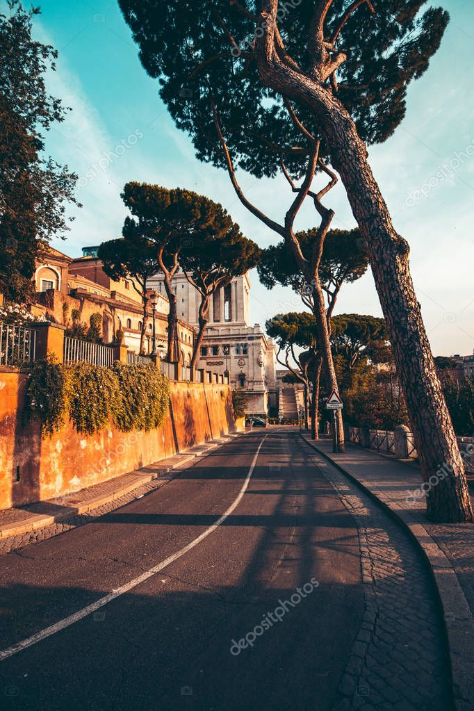 The streets of Rome at sunset