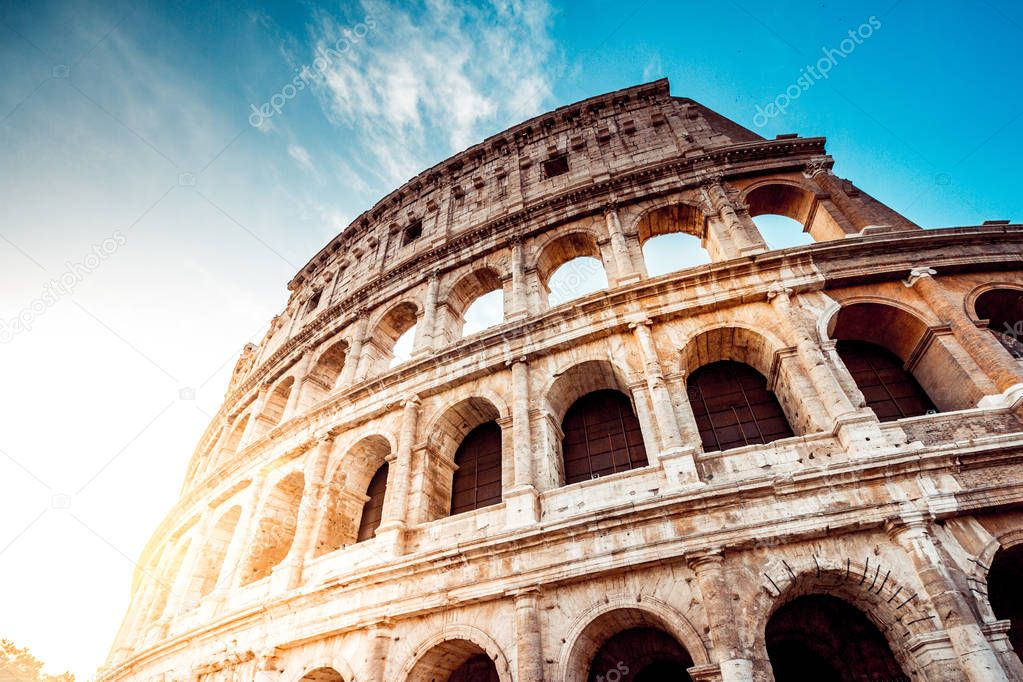 The Roman Colosseum at sunset