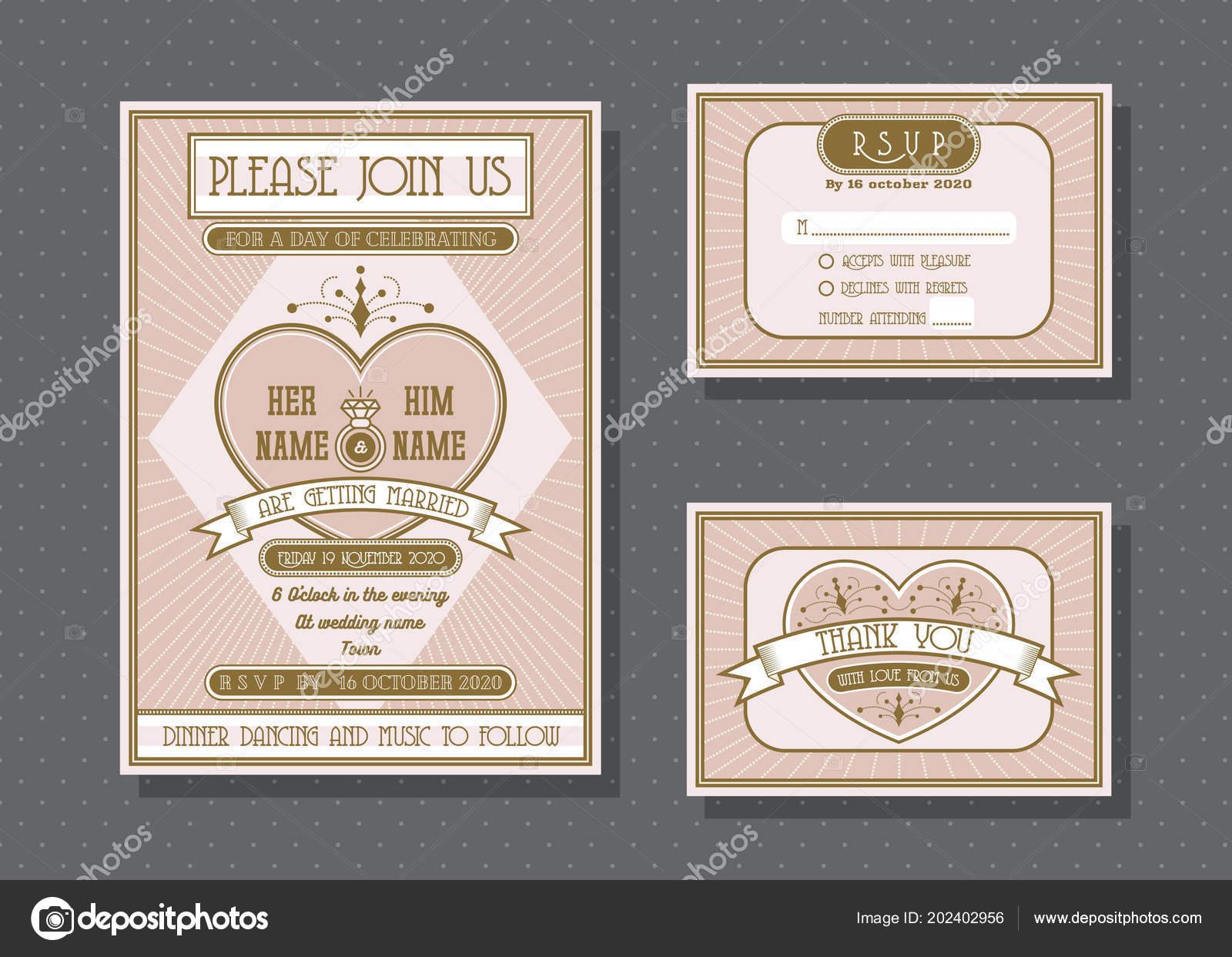 Wedding Invitation Card Vector Template Set Retro Vintage Style