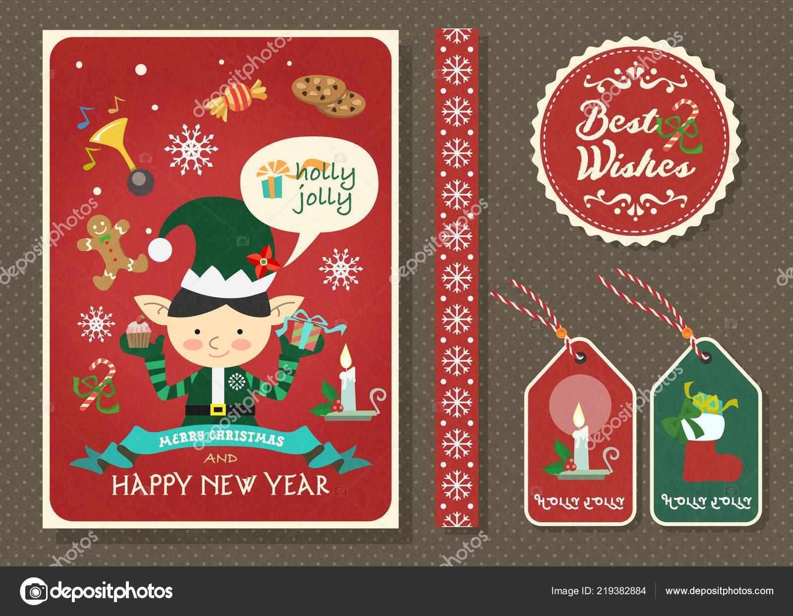 Buon natale felice anno nuovo vettore cartolina auguri con