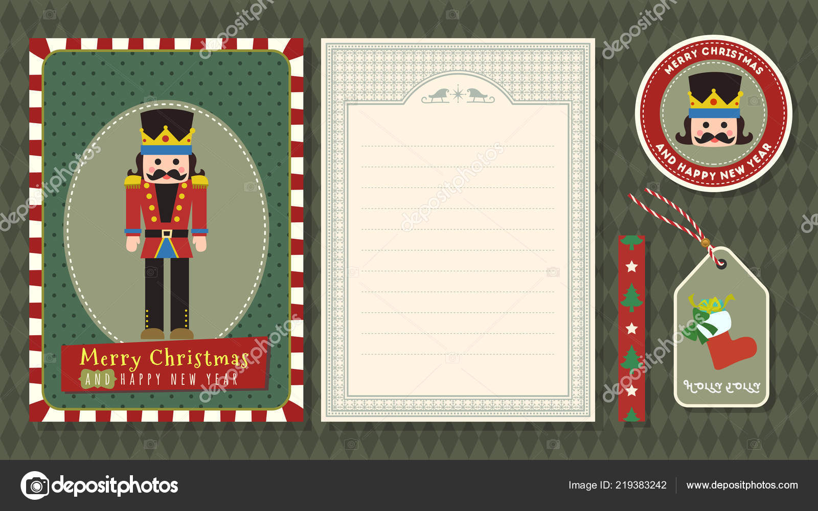 Merry Christmas Happy New Year Vector Greeting Card Set Cute — Stock ...
