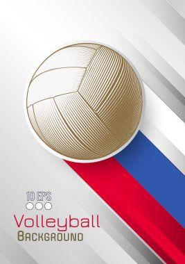Engraving golden volleyball and shadow line space illustration with red blue white color stripe in Russia theme on white dynamic background