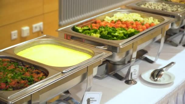 people group catering buffet food indoor in luxury restaurant with meat