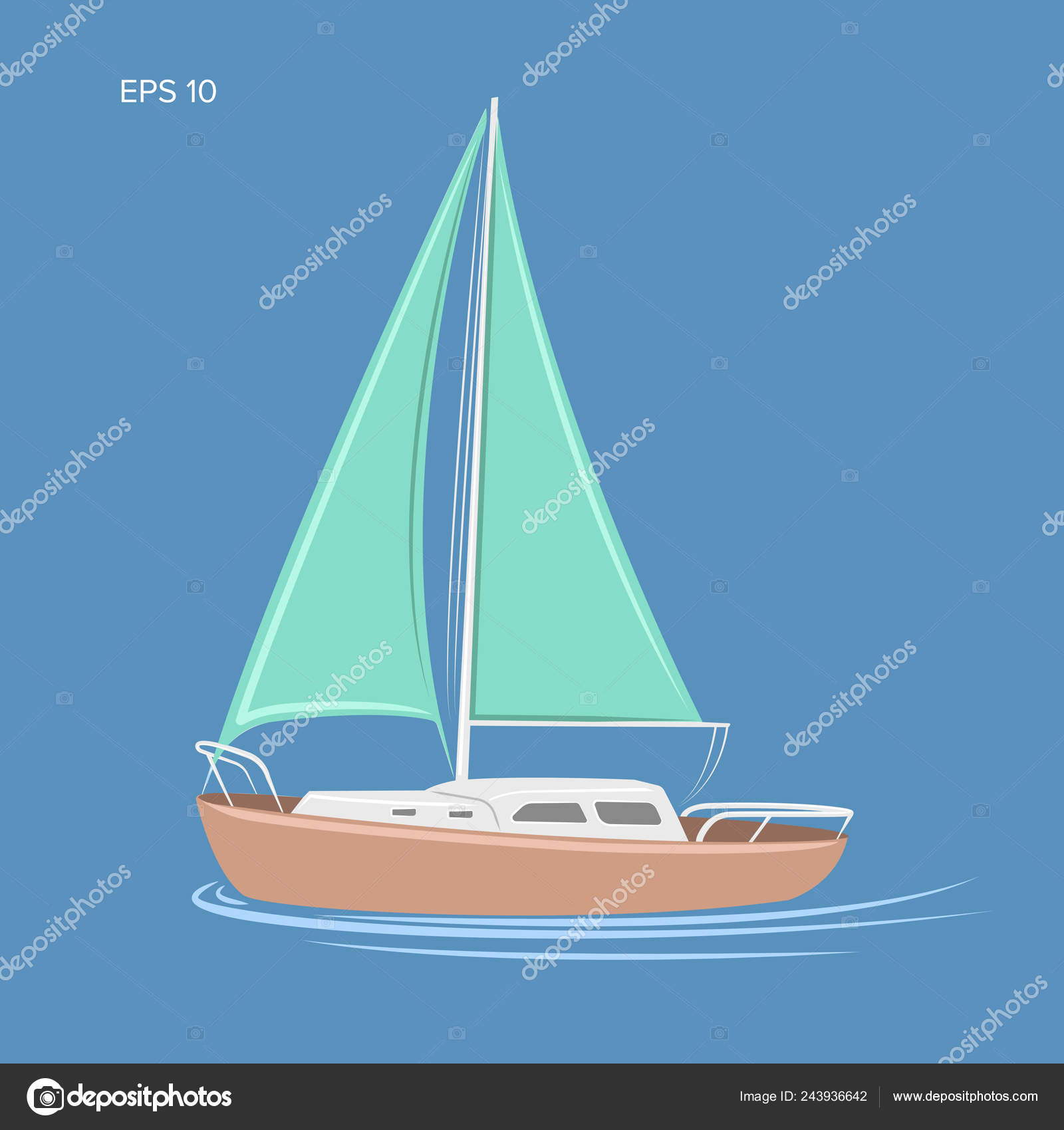Small sailboat vector illustration  Small Yacht with sail