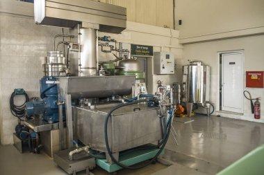 Vassilakis Estate, Cretan Olive Oil Farm. Olive oil factory. Production of natural olive oil. Machines for pressing and storing olive oil.