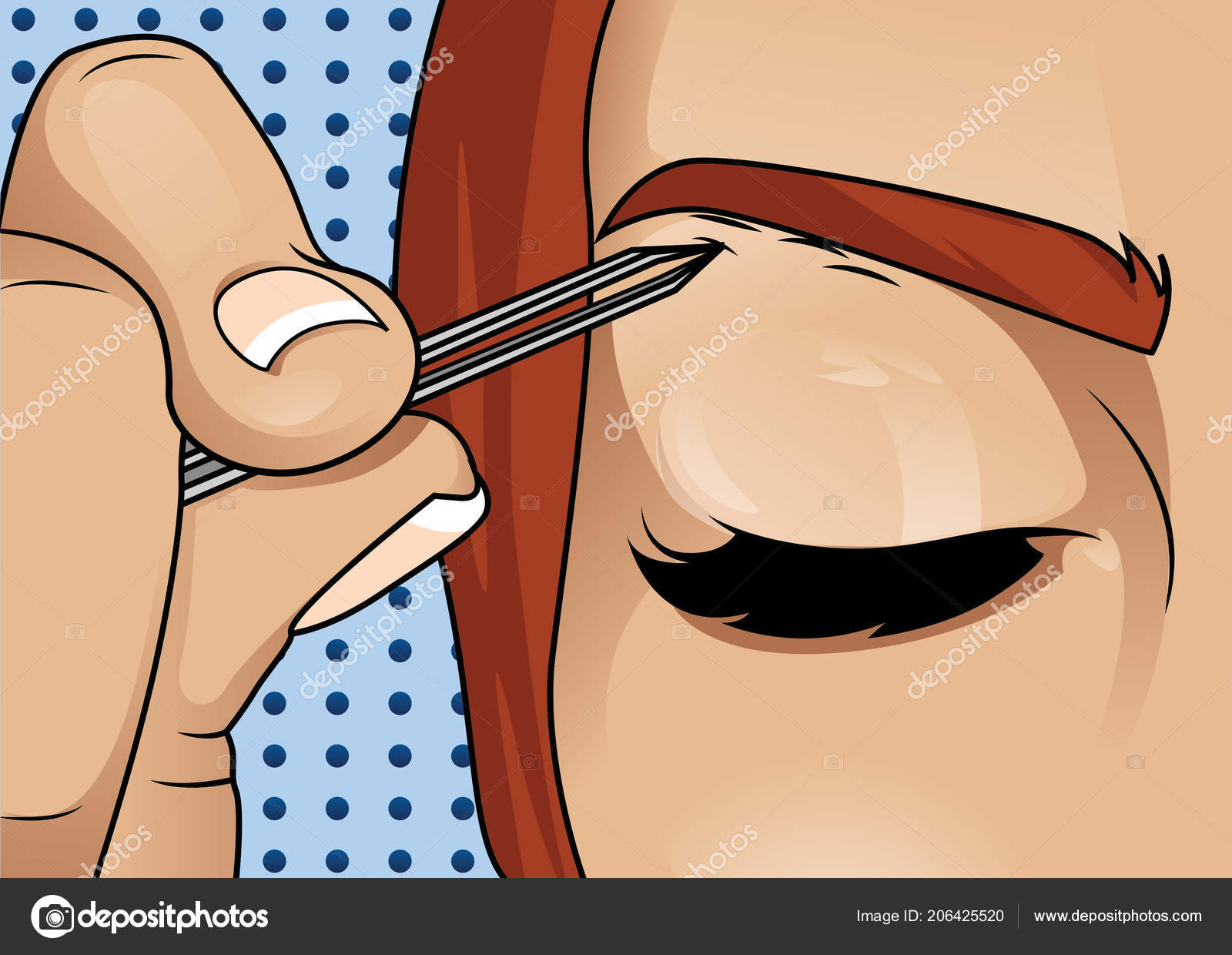 Girl Plucking Brows Hair Metal Forceps Eyebrows Stock Vector