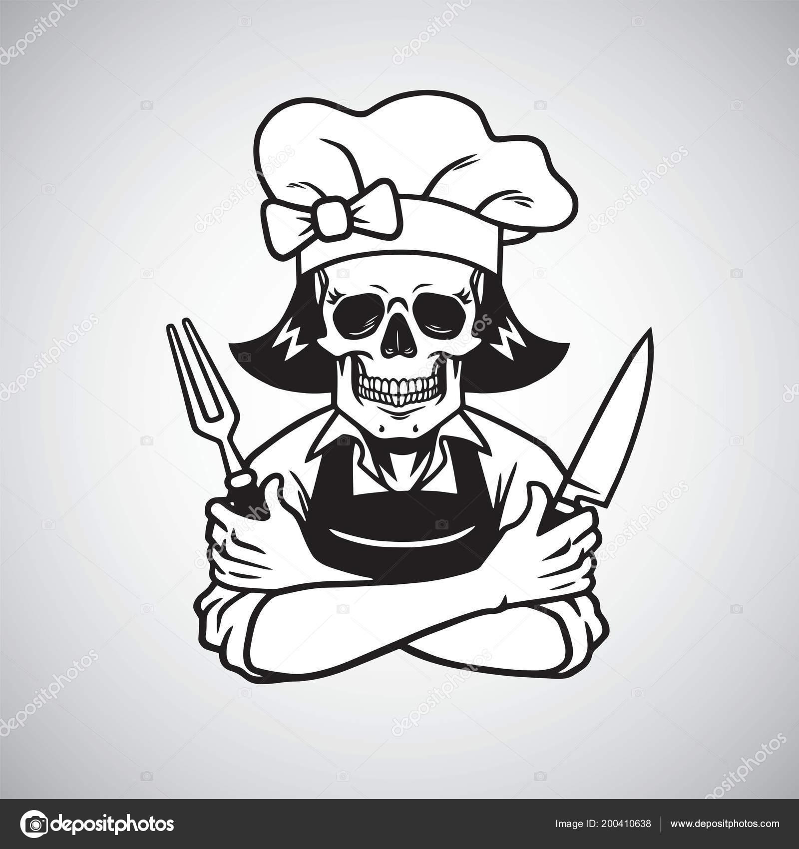 Vector Skull Chef Logo De Señora Cráneo Chef Muerto