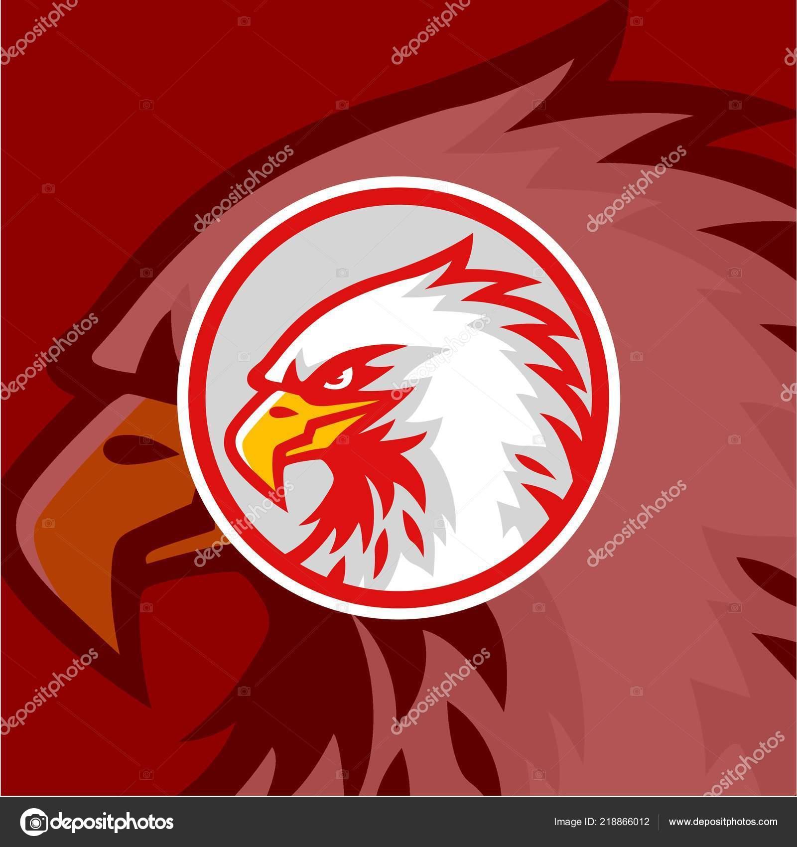 Kartal Başını Kırmızı Arka Plan Logosu Ile Vektör Tasarım Işaret