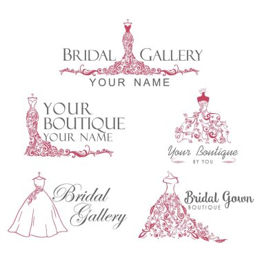 Dress Boutique Bridal Collection Logo Set, Icon, Template Illustration Vector Design
