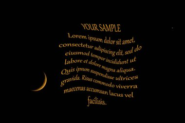 New moon and stars on black background with place for text