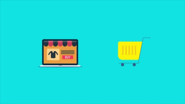 Online shopping from an ecommerce shopping store. Buying from ecommerce store with laptop. Shopping cart, online sales and purchase concept. Internet communication and online business, credit card, shopping bag, digital 2d animation video clip.