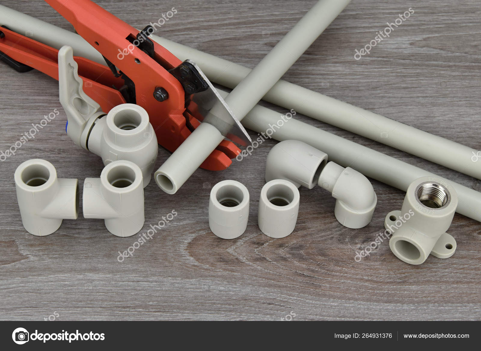 Components making water pipes and special scissors for