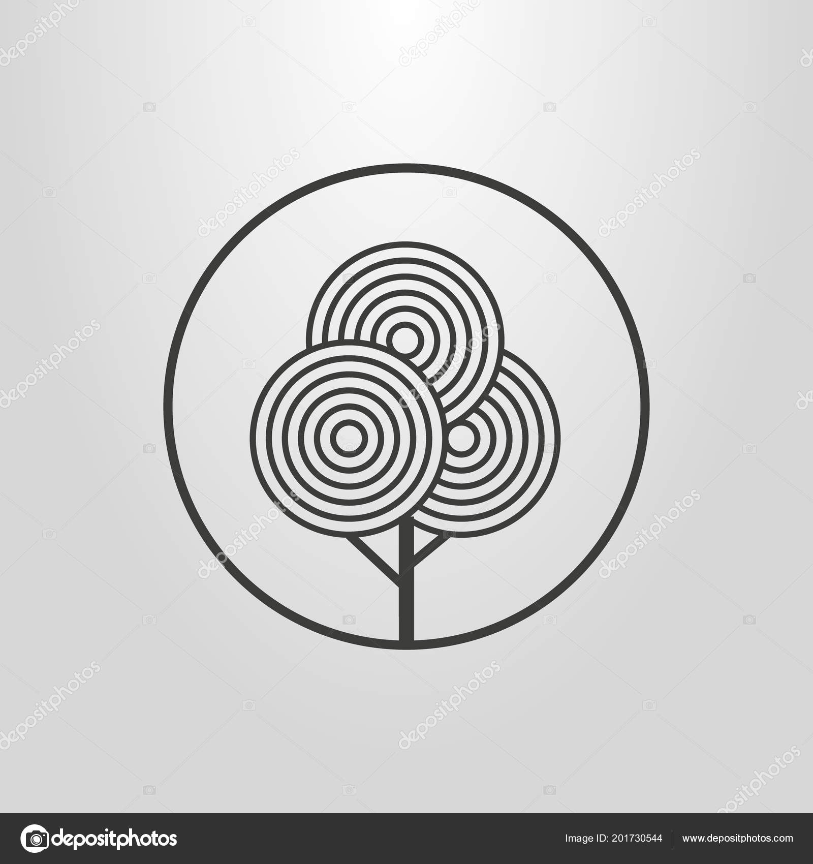 Black White Line Art Abstract Geometric Pictogram Tree Frame ...
