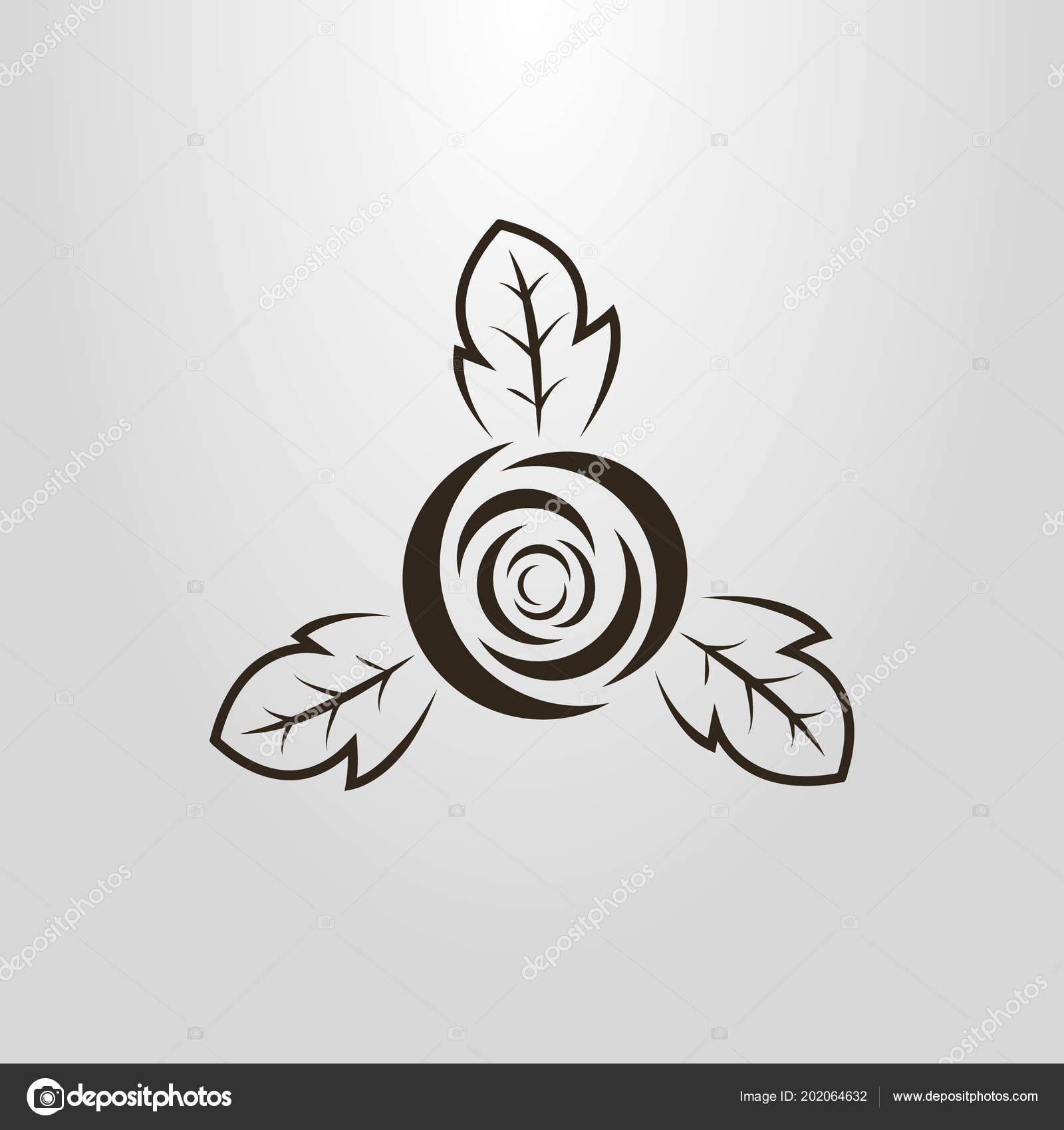 Black White Simple Vector Pictogram Abstract Rose Bud