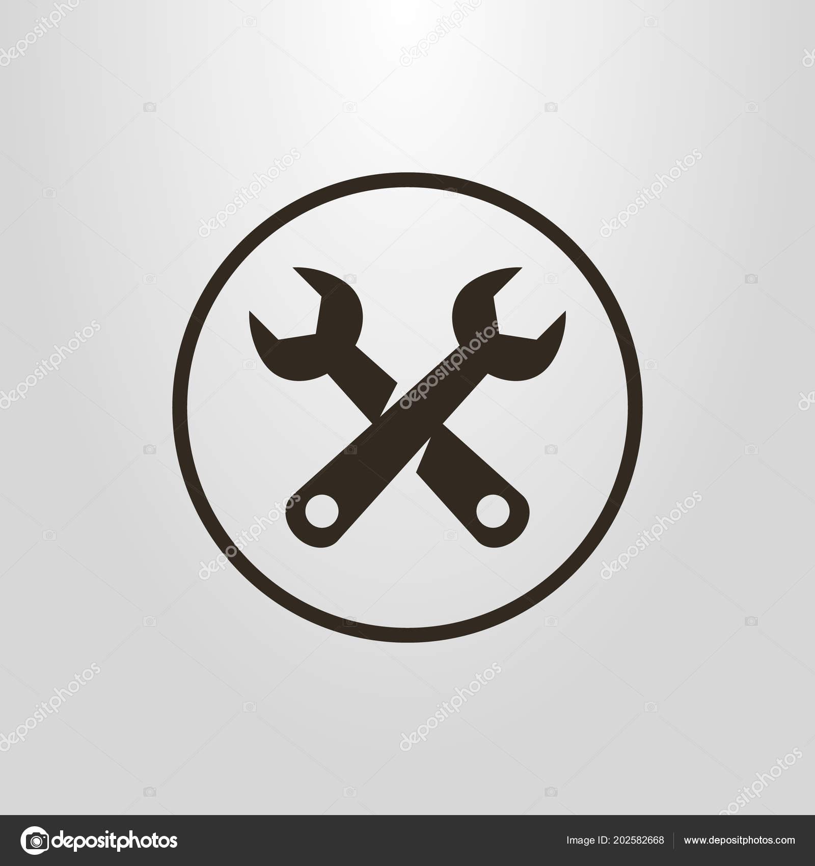 Simbolo Vetor Simples Preto Branco Duas Chaves Uma Moldura Redonda