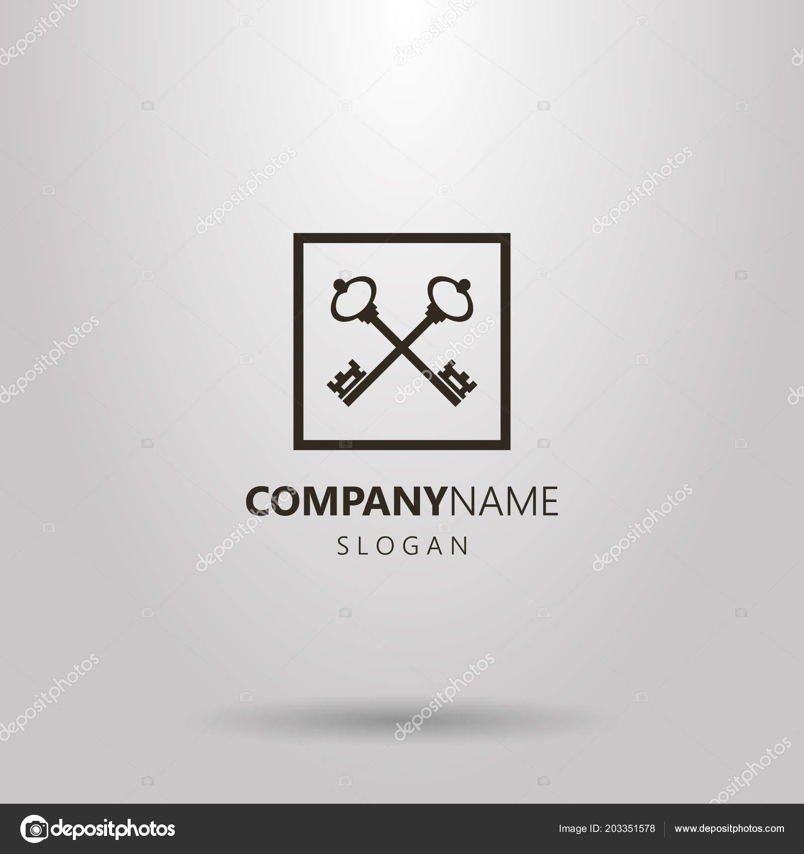 Logotipo Vetor Simples Preto Branco Duas Chaves Cruzadas Uma Moldura