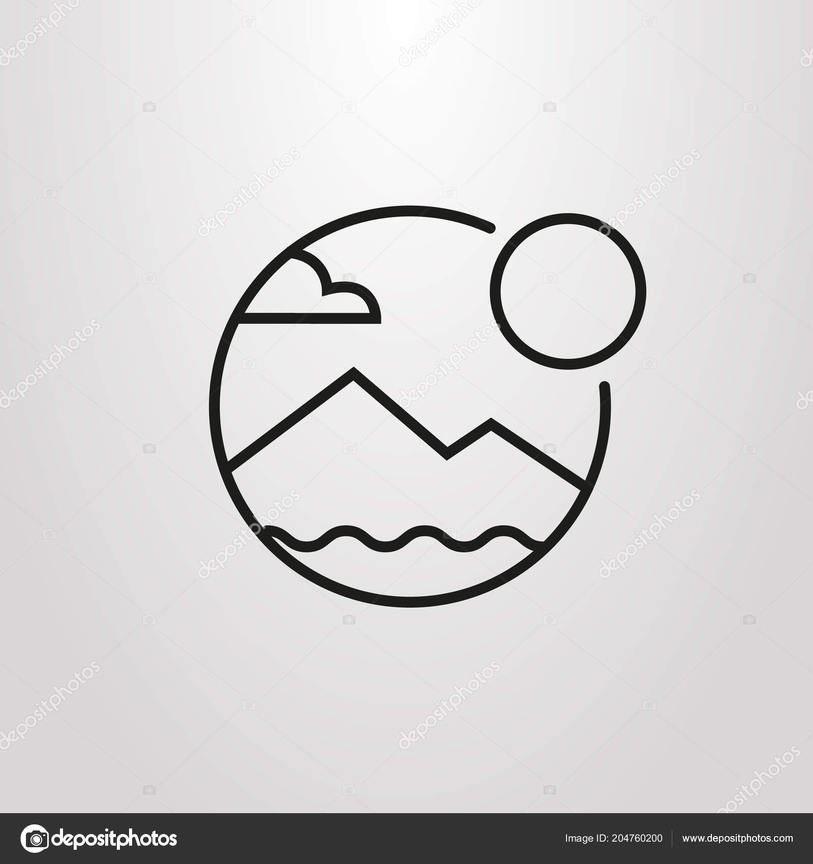 Black and white simple vector line art round symbol of mountain landscape and sun vector by gorro nicko gmail com