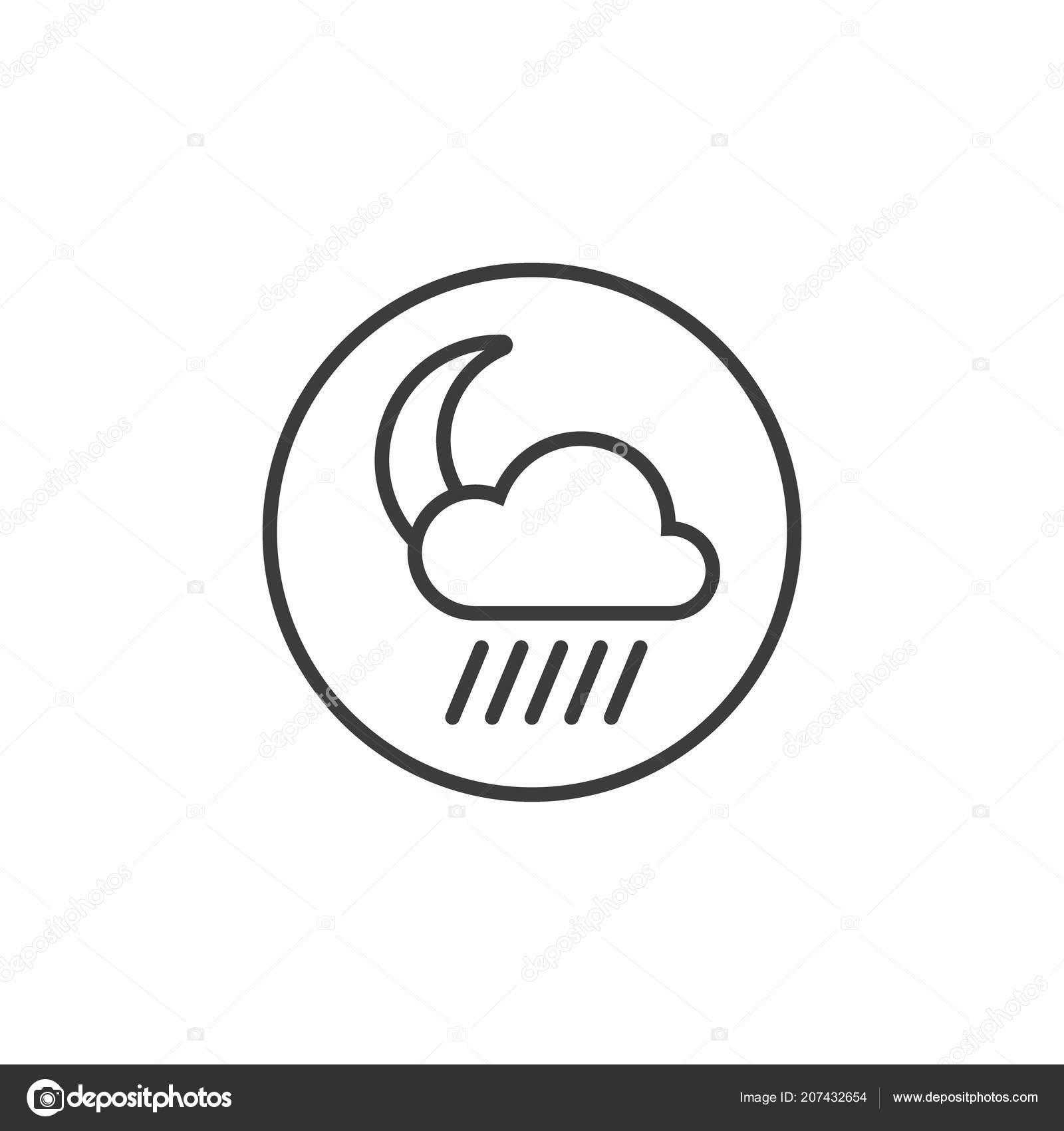 Black White Line Art Icon Moon Rain Cloud Frame — Stockvector ...