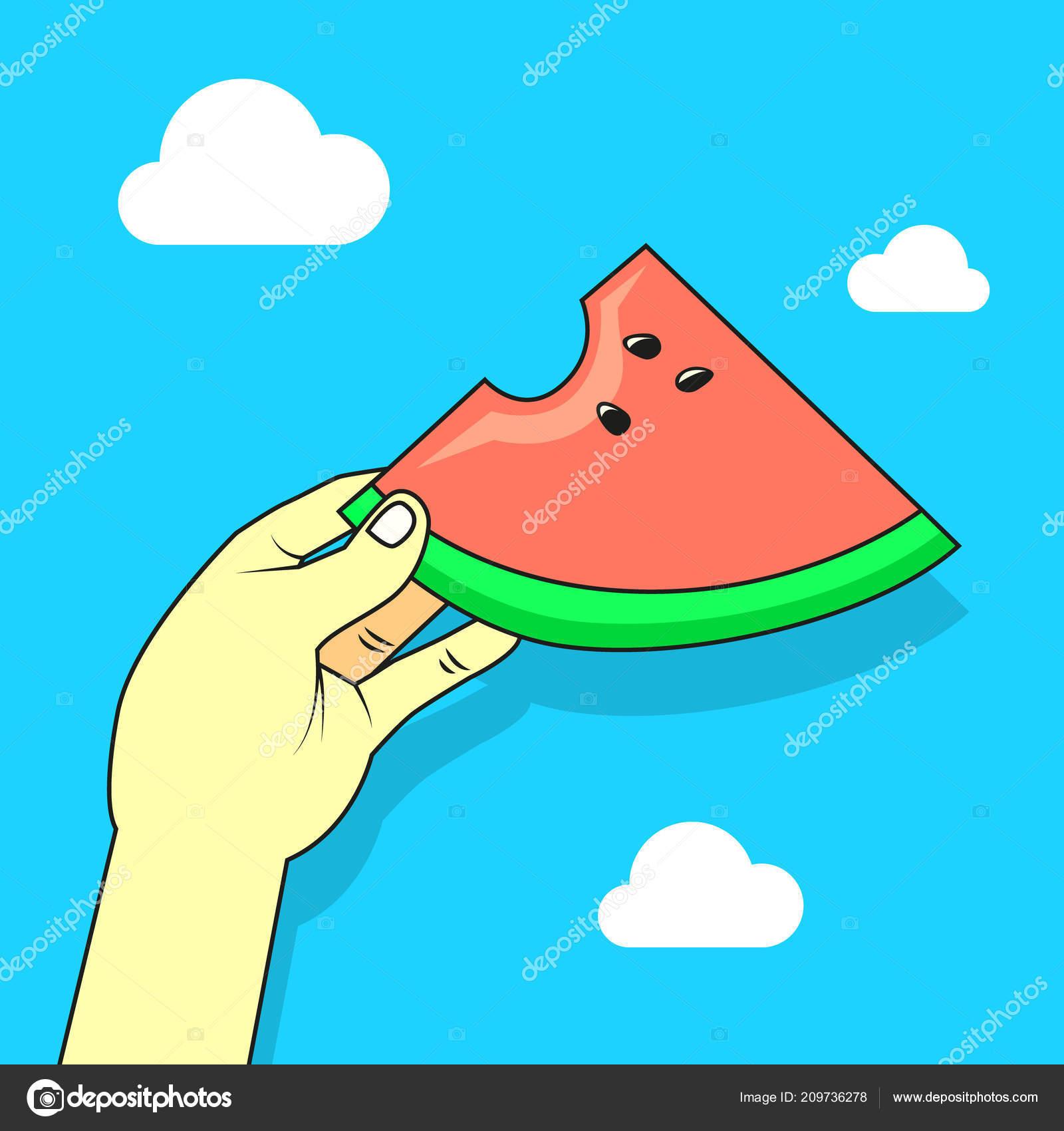 Color Simple Vector Flat Art Cartoon Illustration Hand Watermelon ...