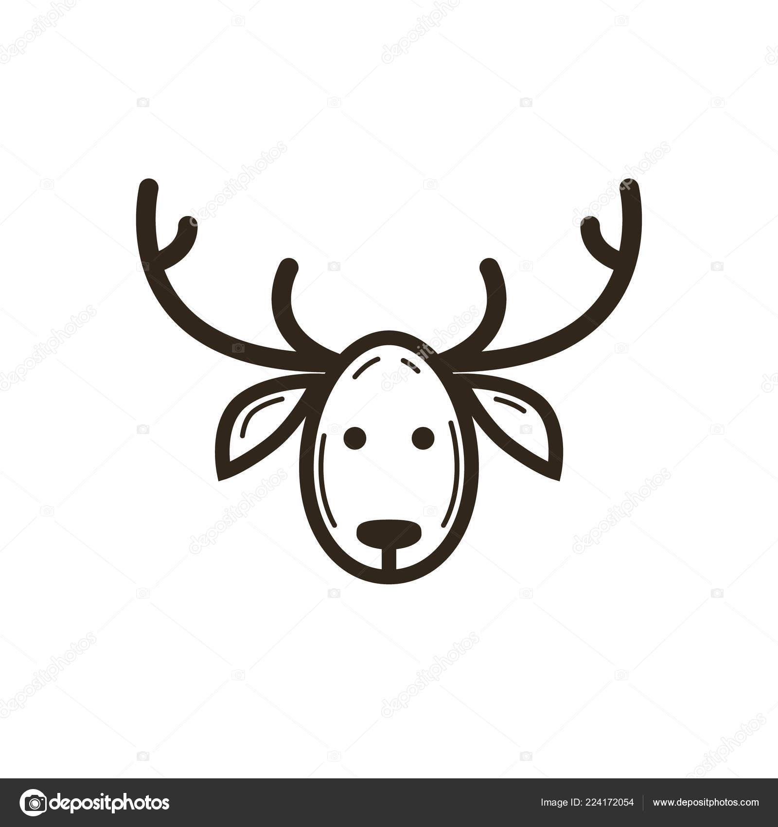 Dessin Trait Noir Blanc Vectoriel Simple Icône Noël Tête