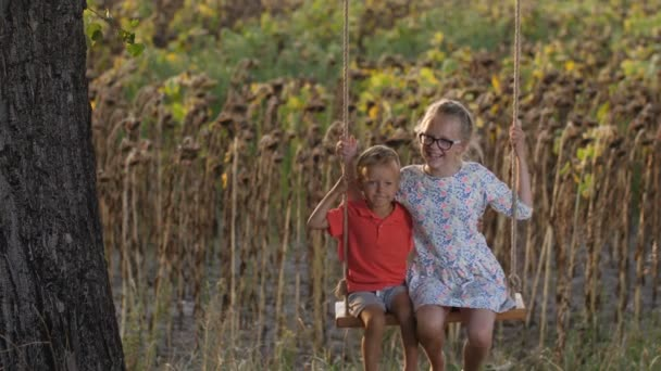 Cheerful siblings on swing enoying summer day