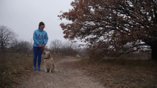 Pretty fitness woman and dog jooging in fresh air